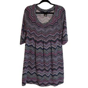 New Directions Knit Pleated Quarter Sleeve Dress